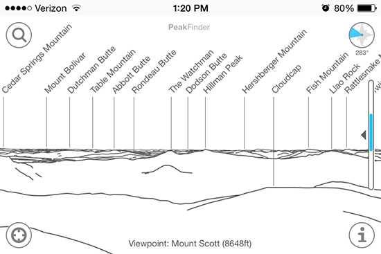 PeakFinder Earth on iOS