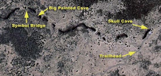 Aerial View of Big Painted Cave, Symbol Bridge and Skull Cave - Lava Beds National Monument