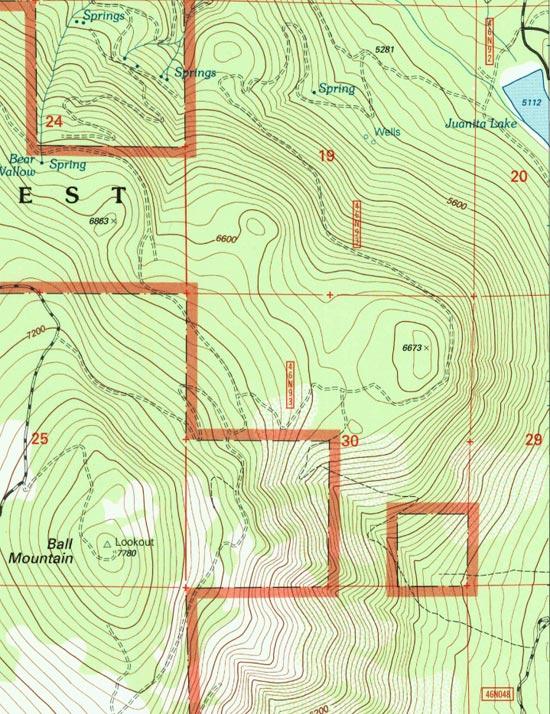 Juanita Lake to Ball Mountain Lookout Map