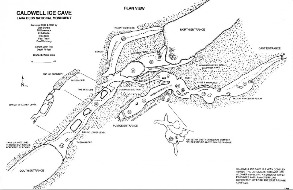Map of Caldwell Cave