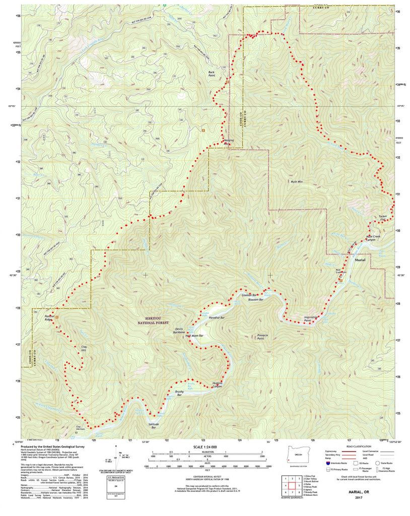 Rogue River LopTrail on USGS Mapping